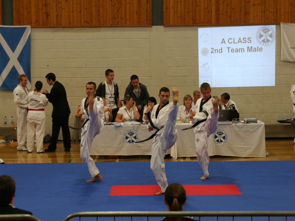 Lisburn's Peter Stewart 4th Dan, UTA-NI Head, Queen's instrustor Glen Culbert 6th Dan, Rosetta TKD's Damian Duffy 4th Dan